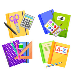colorful school supplies isolated on white vector image