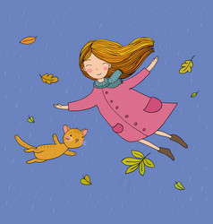 cute little girl and a cartoon cat flying vector image
