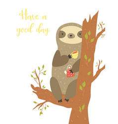 Cute sloth sitting on a tree and having a tea vector