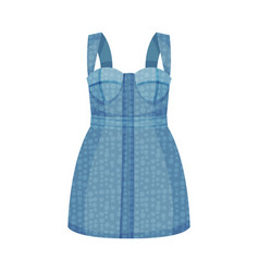 Denim blue pinafore dress with shoulder straps as vector