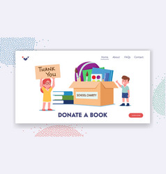Donate a book landing page template little boy vector