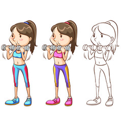 doodle character for woman doing weight training vector image