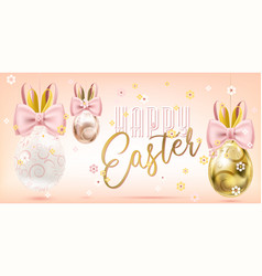 easter cute golden eggs with bunny bow in confetti vector image