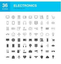 electronics line web glyph icons vector image