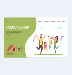 family camp landing page happy cartoon vector image
