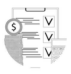 financial audit line icon vector image