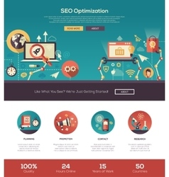 Flat design SEO optimization website header banner vector image