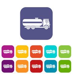 Fuel tanker truck icons set vector