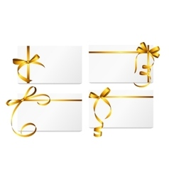 Gift Card with Gold Ribbon and Bow Set vector image