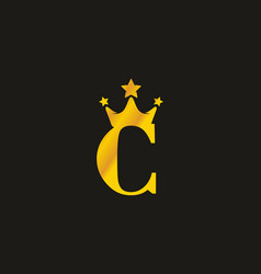 gold c letter with crown logo vector image