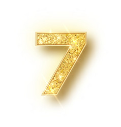 Gold glitter alphabet numbers 7 with shadow vector