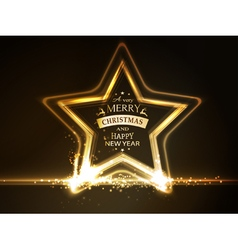 Golden star frame Merry Christmas vector image
