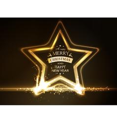 Golden star frame Merry Christmas vector