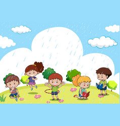 happy children playing in the rain vector image