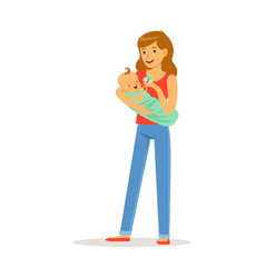 happy mother and her adorable baby playing with vector image