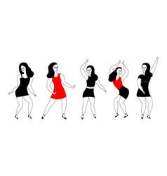 Happy women dancers vector