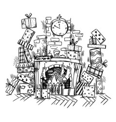 Heaps of presents near fireplace on christmas eve vector
