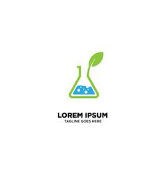 Herbal lab logo template vector