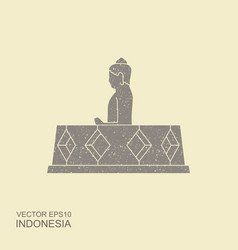 indonesian borobudur ancient temple flat vector image