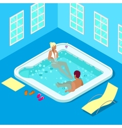 Indoors Jacuzzi with Woman and Man vector image