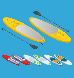 Isometric set of stand up paddle surfing and stand vector