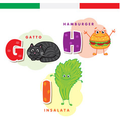 italian alphabet cat hamburger lettuce vector image