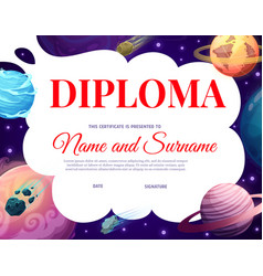 Kids diploma with space planets and asteroids vector