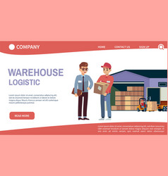 landing page concept with theme warehouse and vector image
