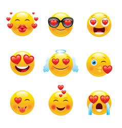 love emoji icon set 3d happy sad face smile vector image