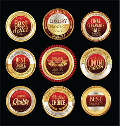 Luxury golden retro badges collection 03 vector