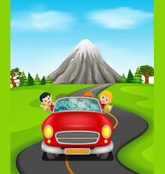 man and family driving a car on the road vector image