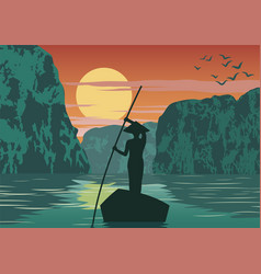 Man row boat to go to come back home pass ha vector