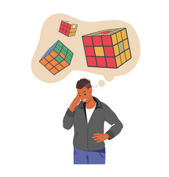 Man with logical mathematical thinking mental vector