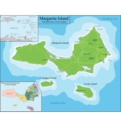 Map of Margarita Island vector