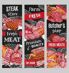 Meat food and sausages sketch blackboard banners vector