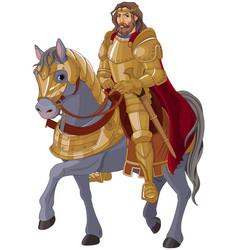 Medieval king horseback vector