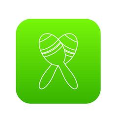 mexican maracas icon green vector image