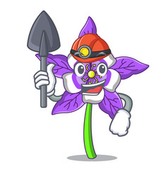 Miner columbine flower mascot cartoon vector