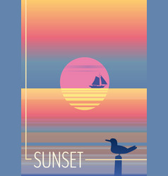 minimalist sunset in the sea ocean with a vector image