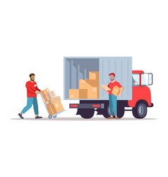 Moving house service flat vector