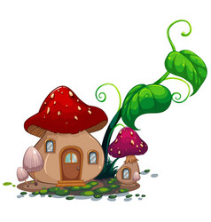 Mushroom house with green leaves vector