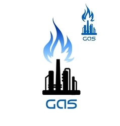 Oil refinery plant icon with flame above vector image