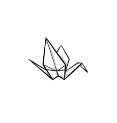 origami crane hand drawn sketch icon vector image