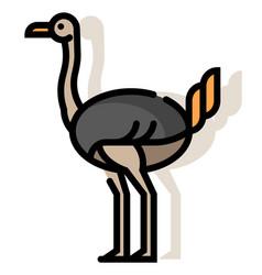 Ostrich linecolor vector