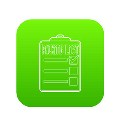 Packing list icon green vector