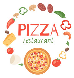 pizza restaurant with ingredients banner poster vector image
