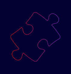 puzzle piece sign line icon with gradient vector image