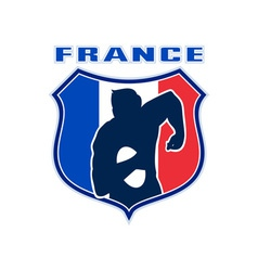 rugby player france flag shield vector image