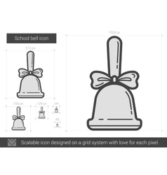 School bell line icon vector