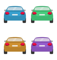 Set of back of cars in on white background vector image